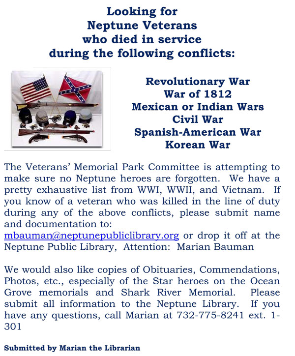 looking for neptune veterans who died in service