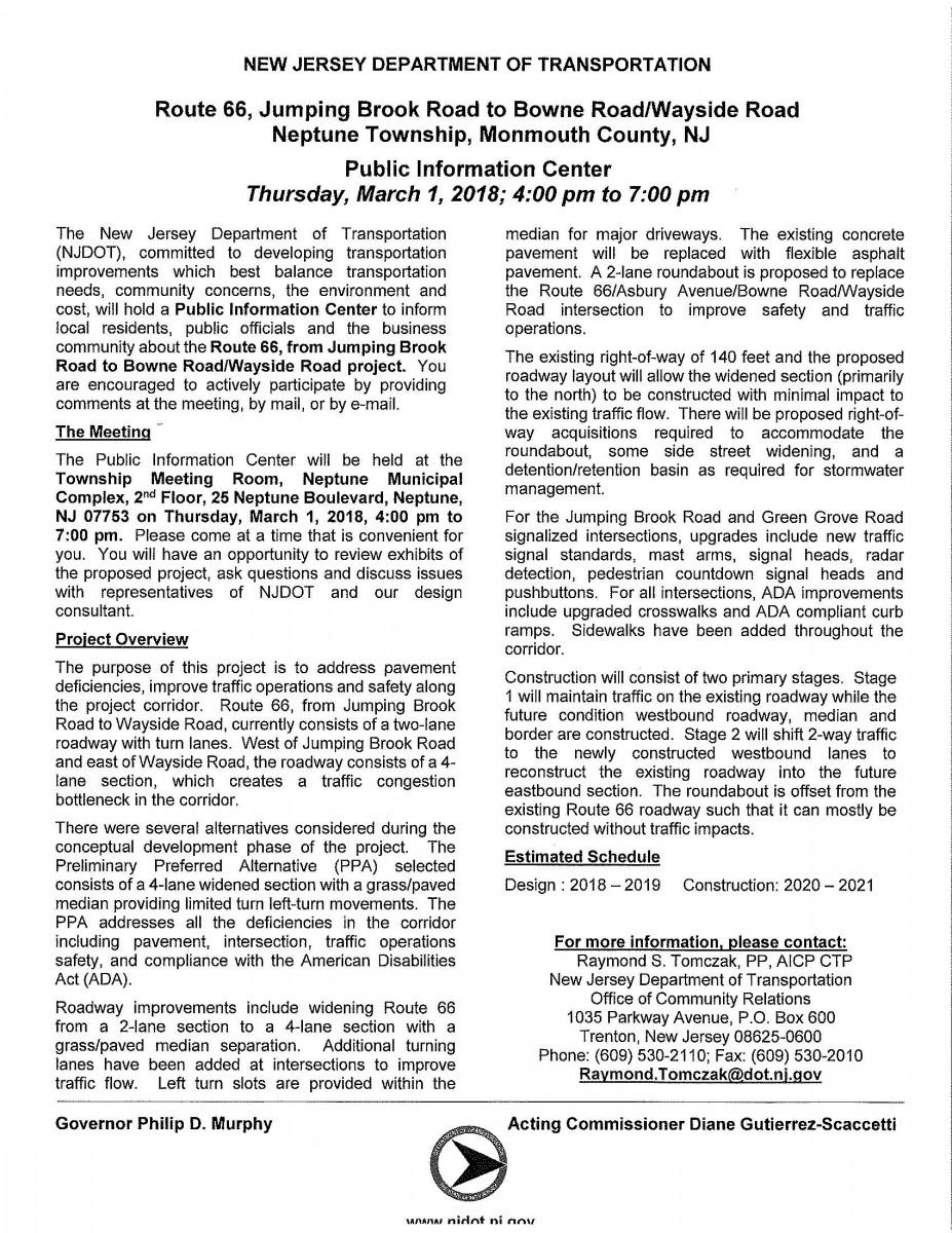Public notices neptune township route 66 transportation improvements public information center 1betcityfo Images