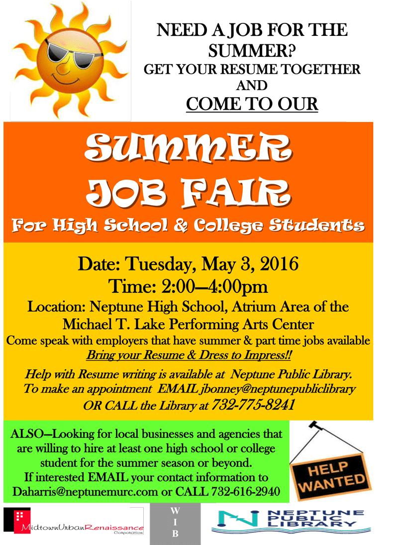 summer job fair for high school  u0026 college students